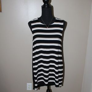 Vince Camuto Black, White and Cream Sleeveless Top